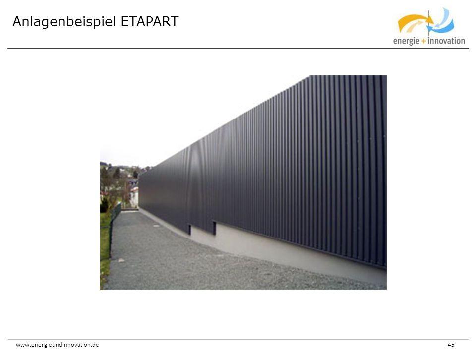 www.energieundinnovation.de45 Anlagenbeispiel ETAPART