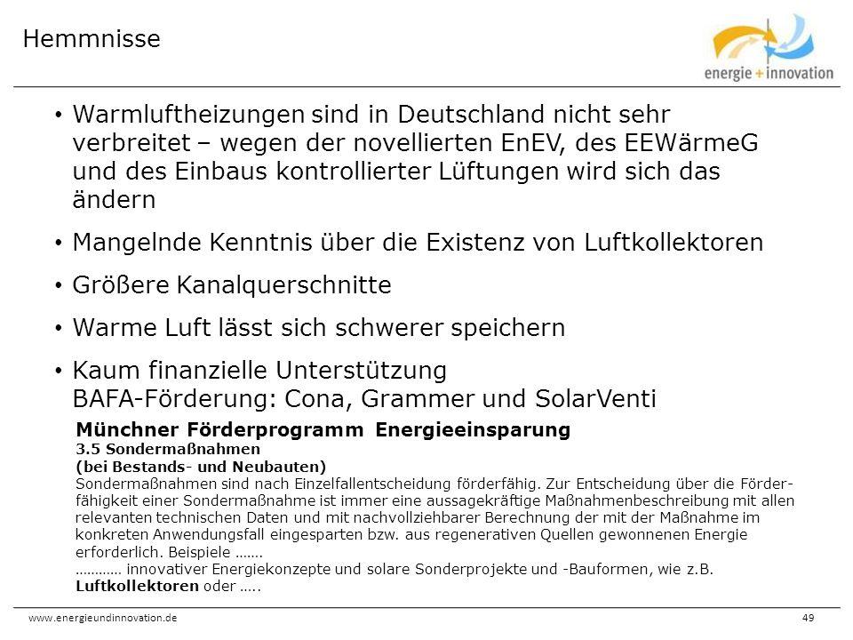 www.energieundinnovation.de49 Warmluftheizungen sind in Deutschland nicht sehr verbreitet – wegen der novellierten EnEV, des EEWärmeG und des Einbaus