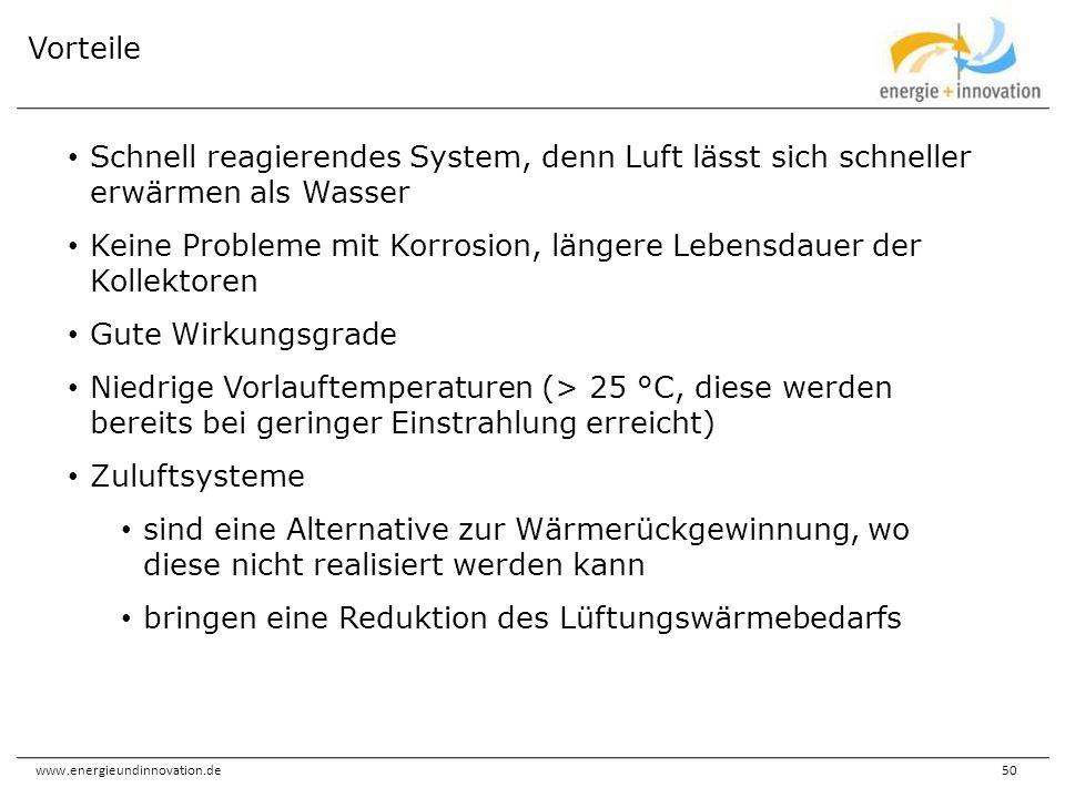 www.energieundinnovation.de50 Schnell reagierendes System, denn Luft lässt sich schneller erwärmen als Wasser Keine Probleme mit Korrosion, längere Le