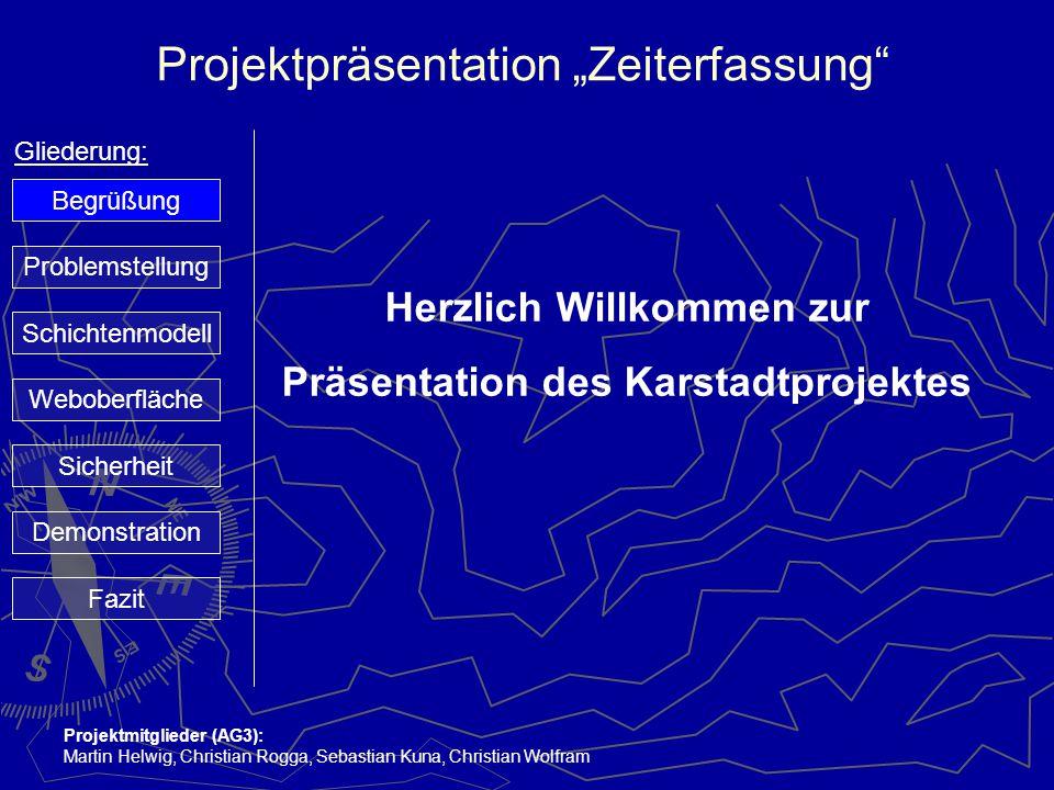 """Projektpräsentation """"Zeiterfassung"""" Gliederung: Projektmitglieder (AG3): Martin Helwig, Christian Rogga, Sebastian Kuna, Christian Wolfram Herzlich Wi"""