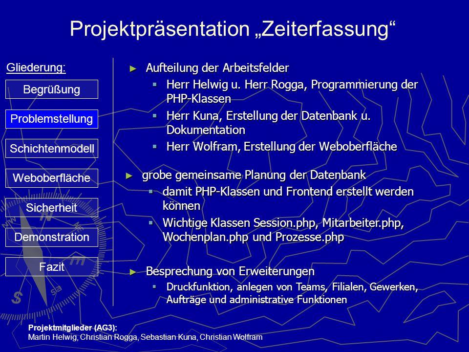 """Projektpräsentation """"Zeiterfassung"""" Gliederung: Projektmitglieder (AG3): Martin Helwig, Christian Rogga, Sebastian Kuna, Christian Wolfram ► Aufteilun"""