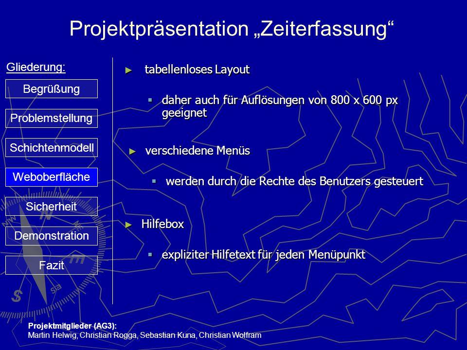 "Projektpräsentation ""Zeiterfassung"" Gliederung: Projektmitglieder (AG3): Martin Helwig, Christian Rogga, Sebastian Kuna, Christian Wolfram ► tabellenl"
