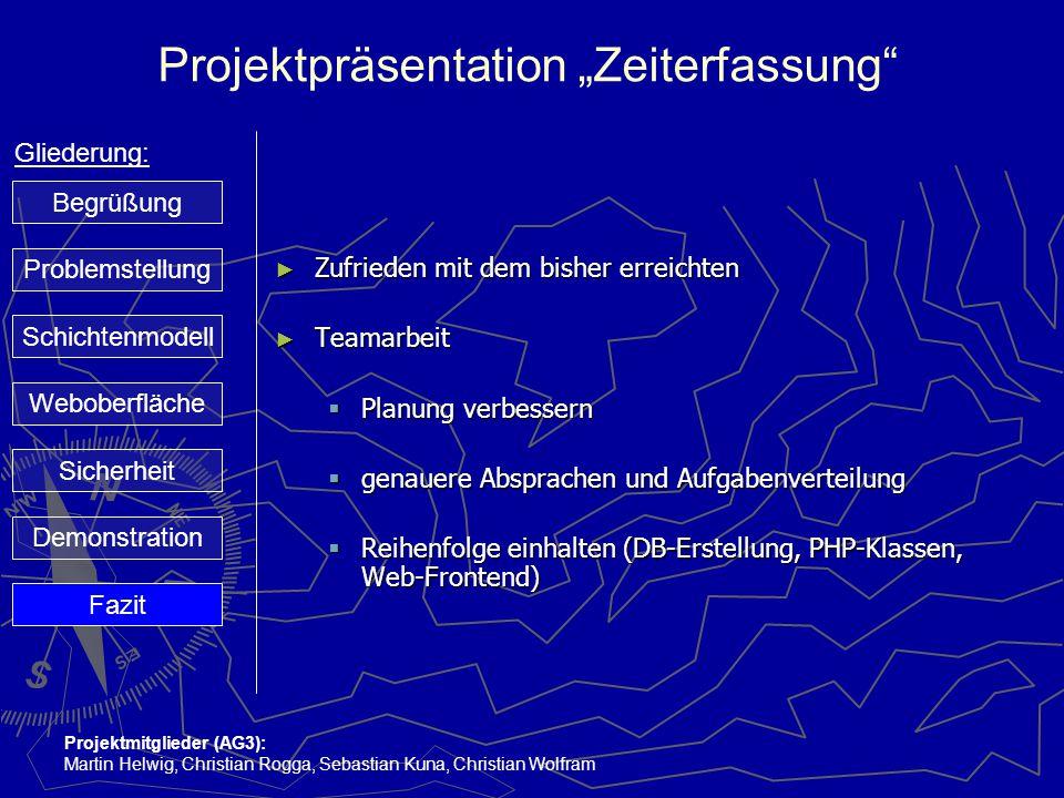 """Projektpräsentation """"Zeiterfassung"""" Gliederung: Projektmitglieder (AG3): Martin Helwig, Christian Rogga, Sebastian Kuna, Christian Wolfram ► Zufrieden"""