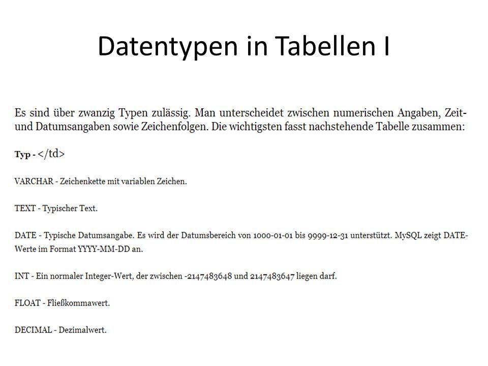 Datentypen in Tabellen I