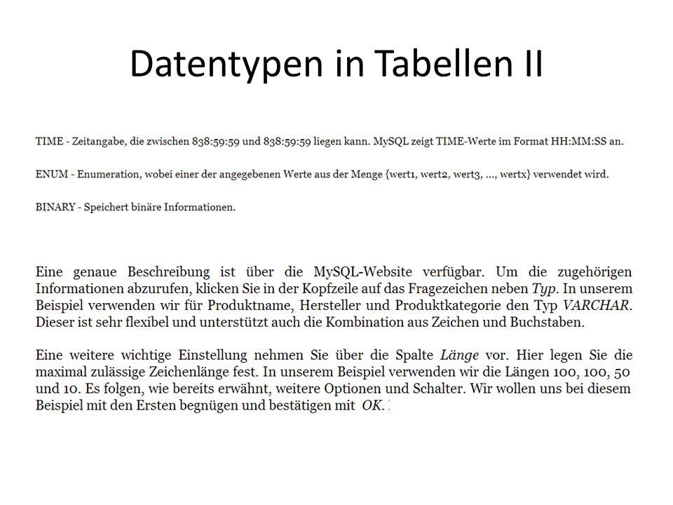 Datentypen in Tabellen II