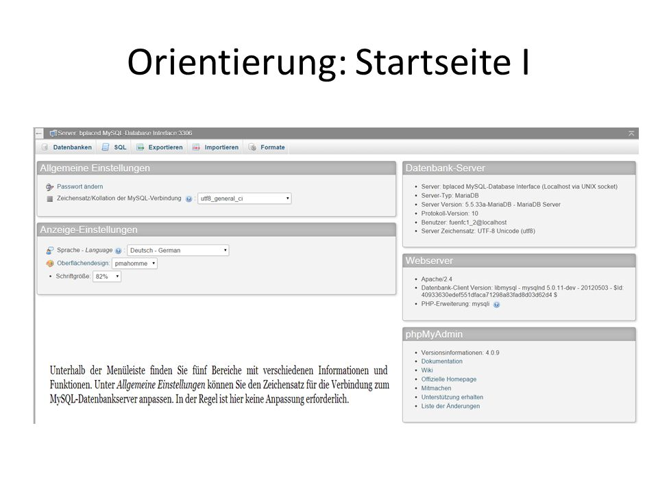 Orientierung: Startseite I