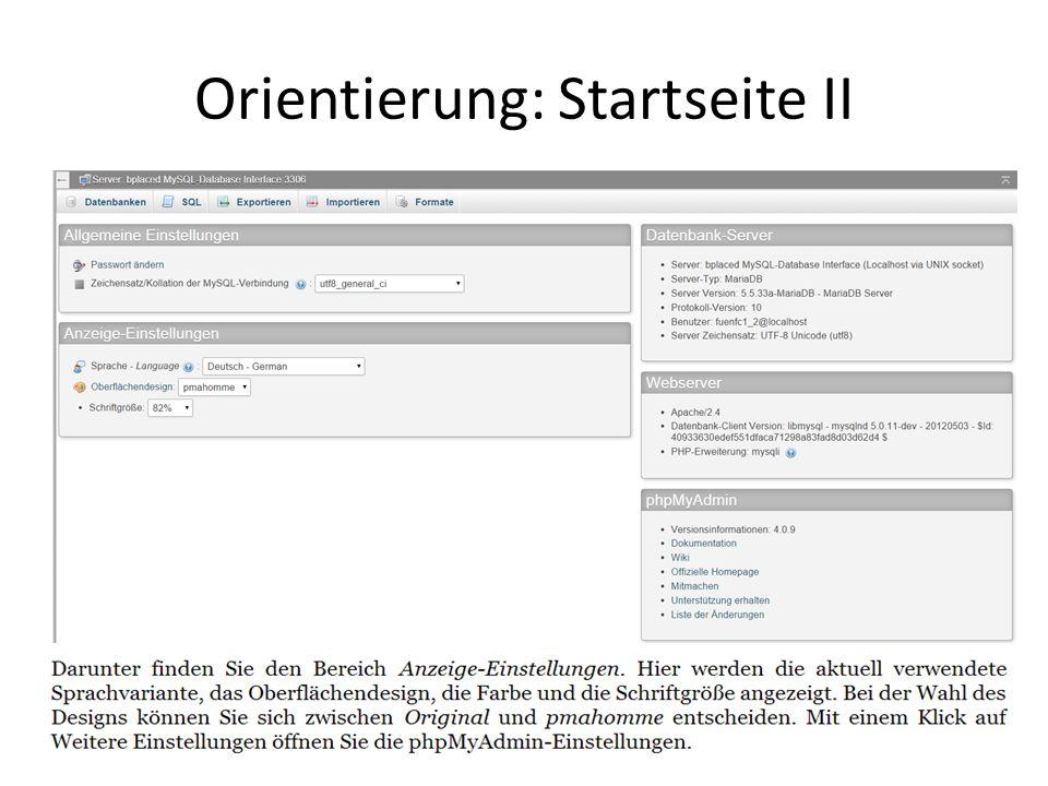 Orientierung: Startseite II