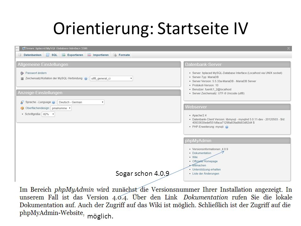 Orientierung: Startseite IV Sogar schon 4.0.9 möglich.