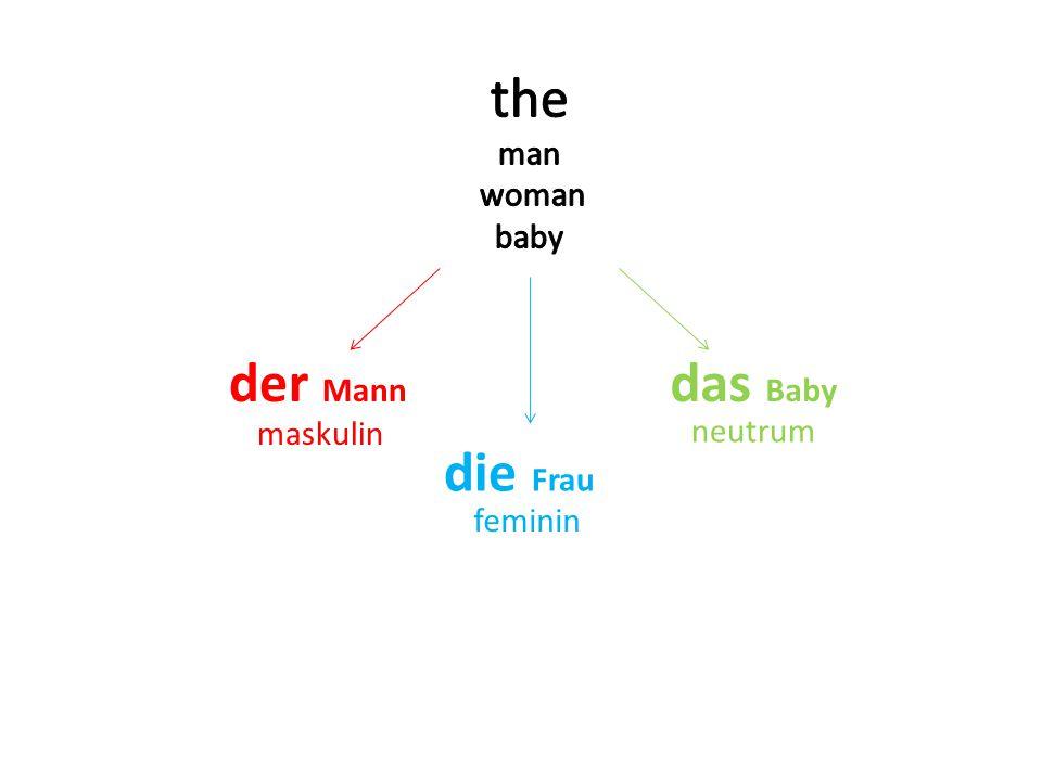 der Mann die Frau das Baby maskulin feminin neutrum a a