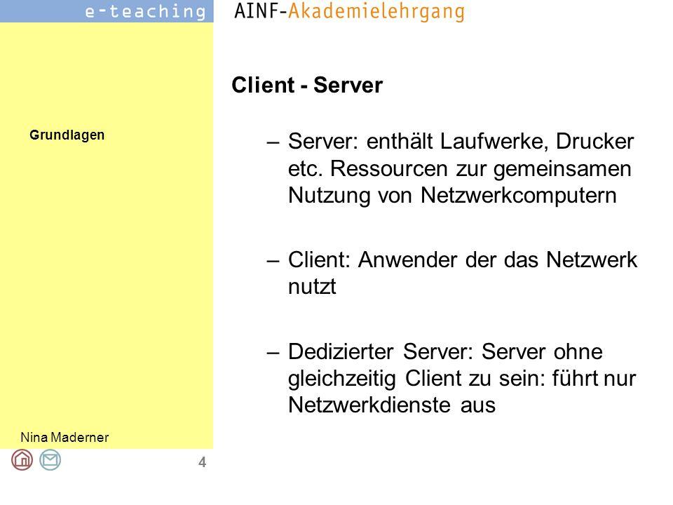 Grundlagen Nina Maderner 4 Client - Server –Server: enthält Laufwerke, Drucker etc.