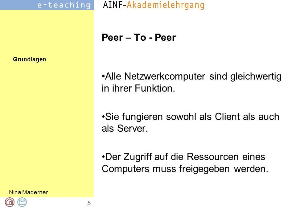 Grundlagen Nina Maderner 5 Peer – To - Peer Alle Netzwerkcomputer sind gleichwertig in ihrer Funktion.