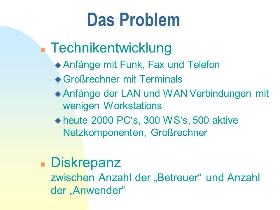 """Das Problem n Technikentwicklung u Anfänge mit Funk, Fax und Telefon u Großrechner mit Terminals u Anfänge der LAN und WAN Verbindungen mit wenigen Workstations u heute 2000 PC's, 300 WS's, 500 aktive Netzkomponenten, Großrechner n Diskrepanz zwischen Anzahl der """"Betreuer und Anzahl der """"Anwender"""
