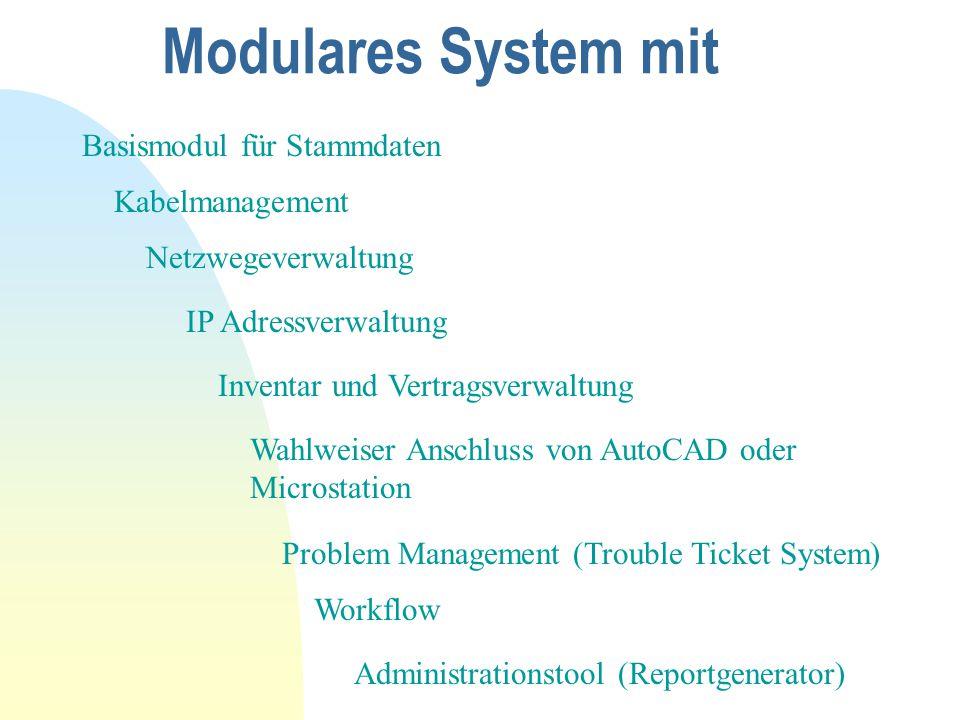 Modulares System mit Basismodul für Stammdaten Kabelmanagement Netzwegeverwaltung IP Adressverwaltung Inventar und Vertragsverwaltung Wahlweiser Anschluss von AutoCAD oder Microstation Problem Management (Trouble Ticket System) Workflow Administrationstool (Reportgenerator)
