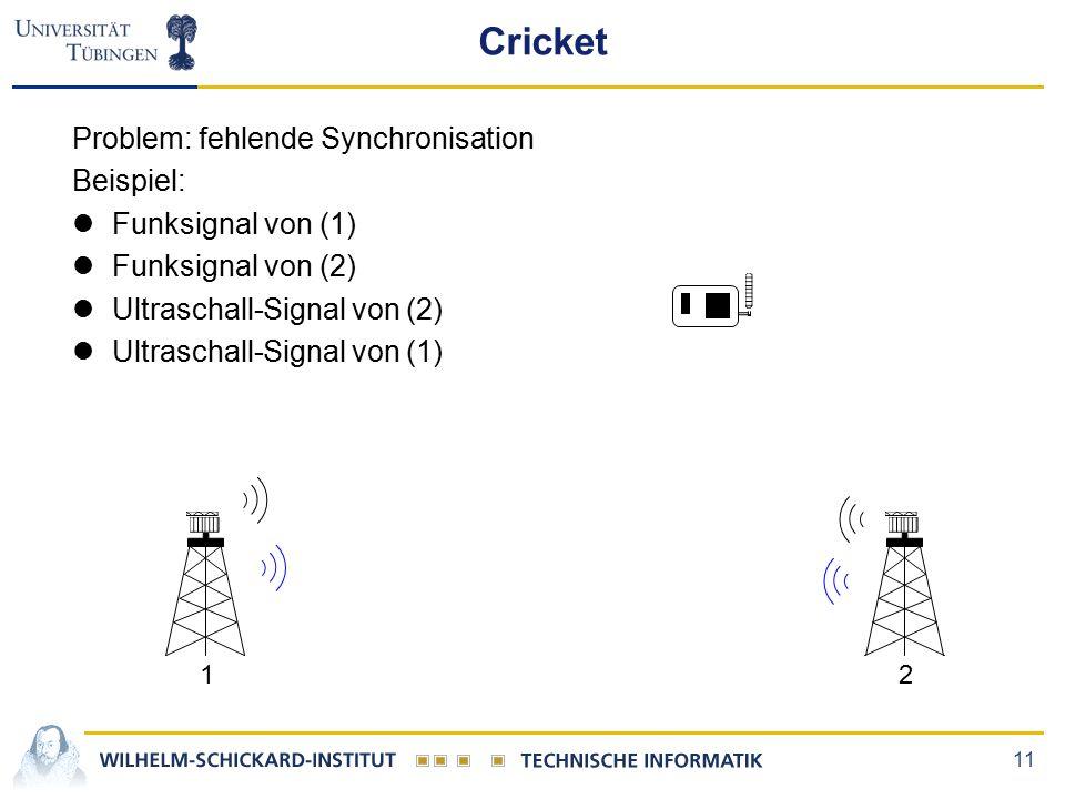 11 12 Cricket Problem: fehlende Synchronisation Beispiel: lFunksignal von (1) lFunksignal von (2) lUltraschall-Signal von (2) lUltraschall-Signal von (1)