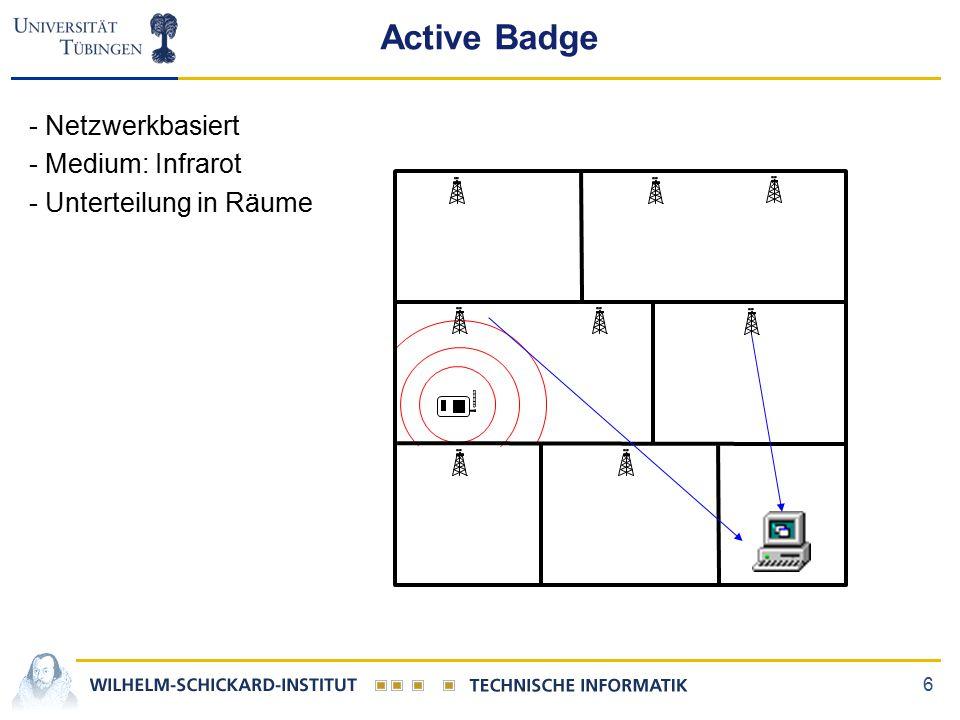 6 Active Badge - Netzwerkbasiert - Medium: Infrarot - Unterteilung in Räume