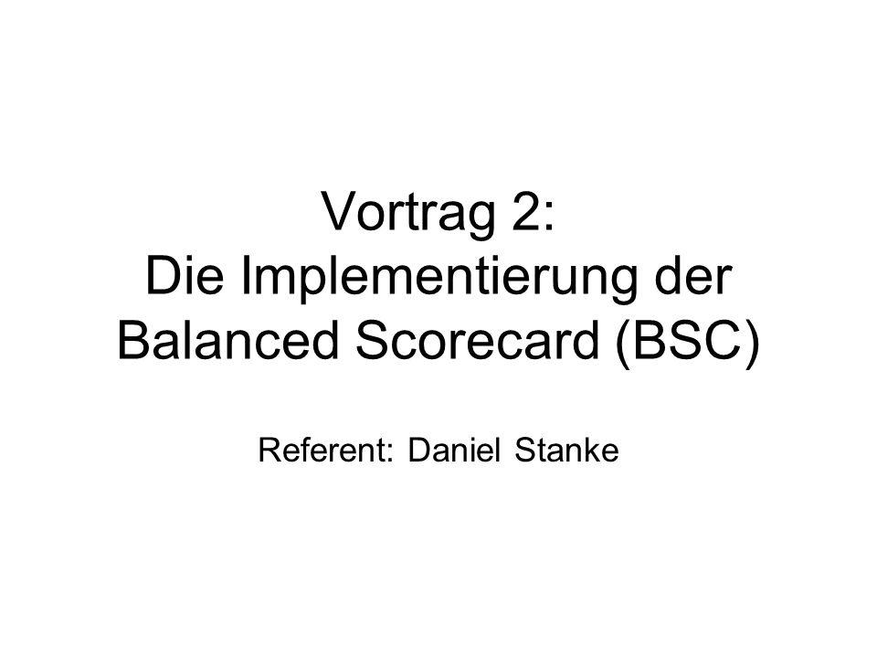"""15.12.2004Die Implementierung der BSC1 Gliederung 1.Probleme bei der Strategieimplementierung 2.4 Hindernisse / """"Barriers 3.2 Komponenten der BSC 4.Die Implementierung der BSC 5.Die BSC als Managementsystem 6.Das Zwiebelschalenmodell 7.Kritikpunkte 8.Erfolgsfaktoren"""