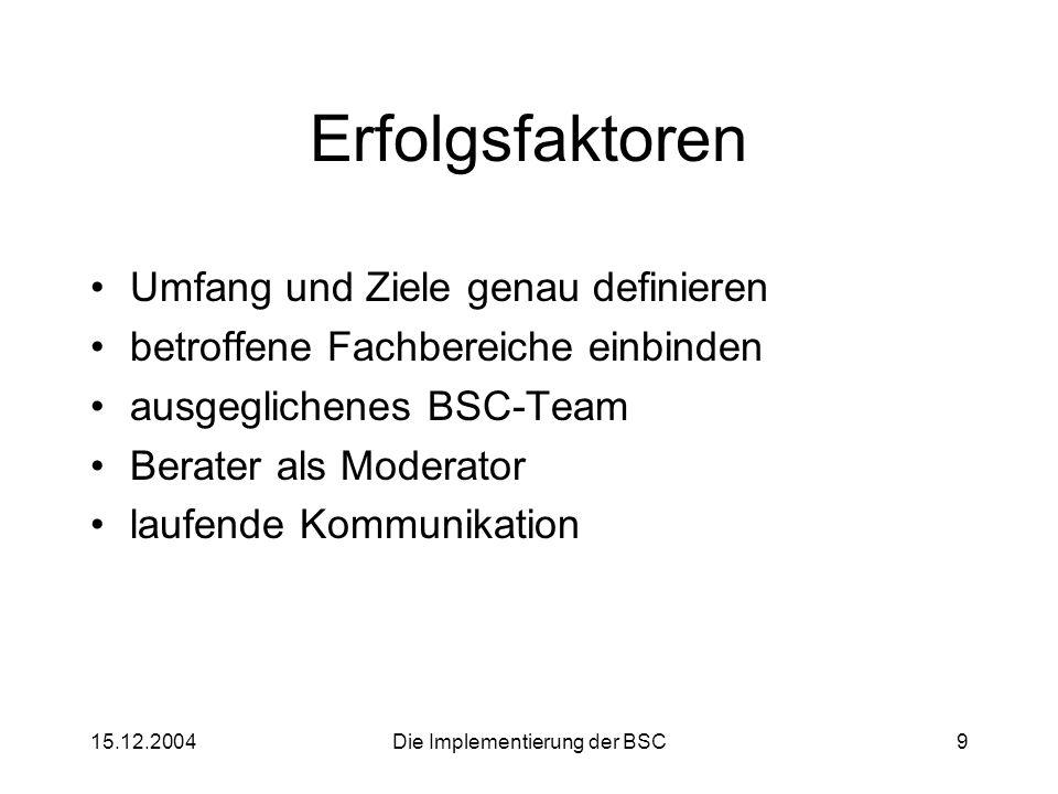 15.12.2004Die Implementierung der BSC9 Erfolgsfaktoren Umfang und Ziele genau definieren betroffene Fachbereiche einbinden ausgeglichenes BSC-Team Ber