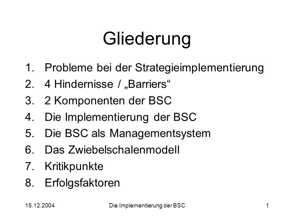 """15.12.2004Die Implementierung der BSC1 Gliederung 1.Probleme bei der Strategieimplementierung 2.4 Hindernisse / """"Barriers"""" 3.2 Komponenten der BSC 4.D"""