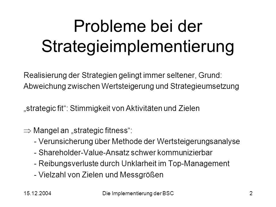 15.12.2004Die Implementierung der BSC2 Probleme bei der Strategieimplementierung Realisierung der Strategien gelingt immer seltener, Grund: Abweichung