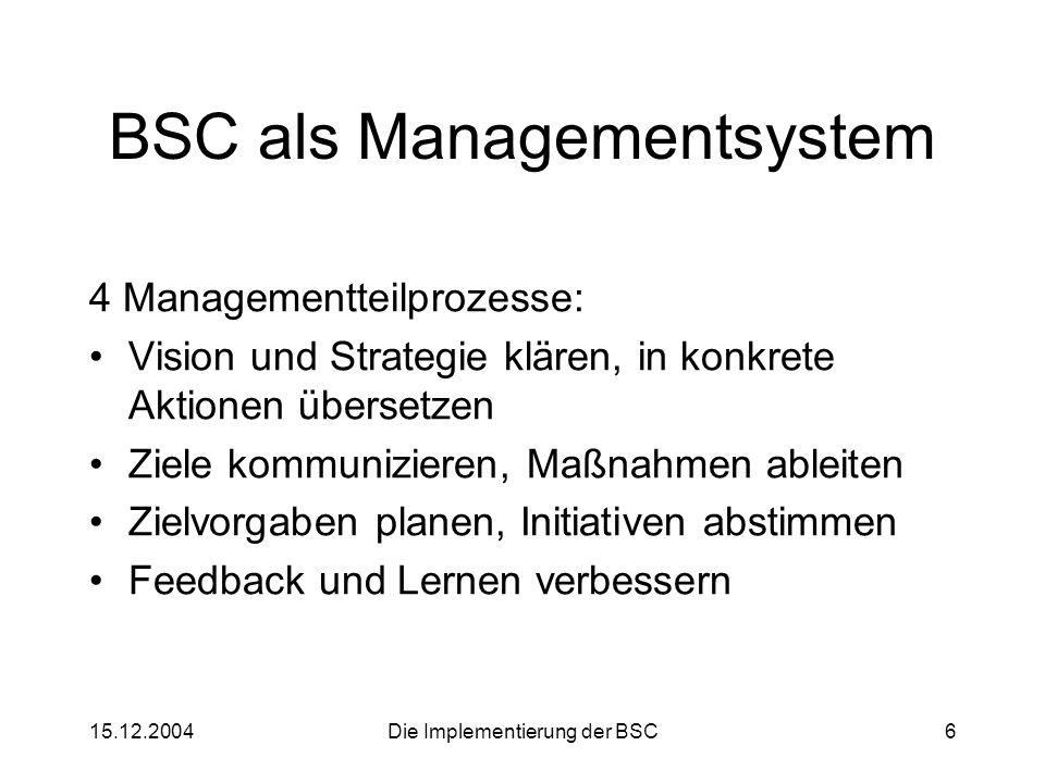 15.12.2004Die Implementierung der BSC6 BSC als Managementsystem 4 Managementteilprozesse: Vision und Strategie klären, in konkrete Aktionen übersetzen