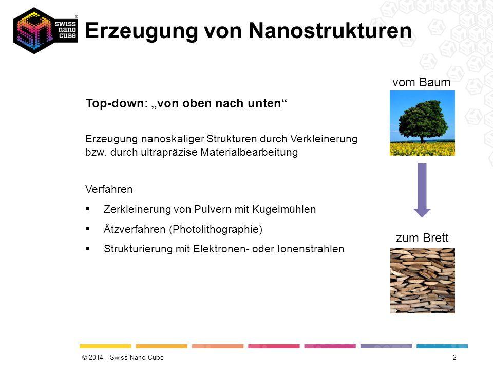"""© 2014 - Swiss Nano-Cube Erzeugung von Nanostrukturen 2 vom Baum zum Brett Top-down: """"von oben nach unten Erzeugung nanoskaliger Strukturen durch Verkleinerung bzw."""