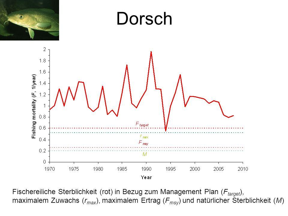 Fischereiliche Sterblichkeit (rot) in Bezug zum Management Plan (F target ), maximalem Zuwachs (r max ), maximalem Ertrag (F msy ) und natürlicher Sterblichkeit (M)