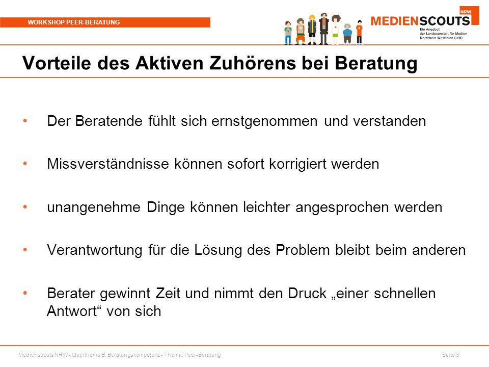 Medienscouts NRW - Querthema B: Beratungskompetenz - Thema: Peer-Beratung Seite 3 WORKSHOP PEER-BERATUNG Vorteile des Aktiven Zuhörens bei Beratung De