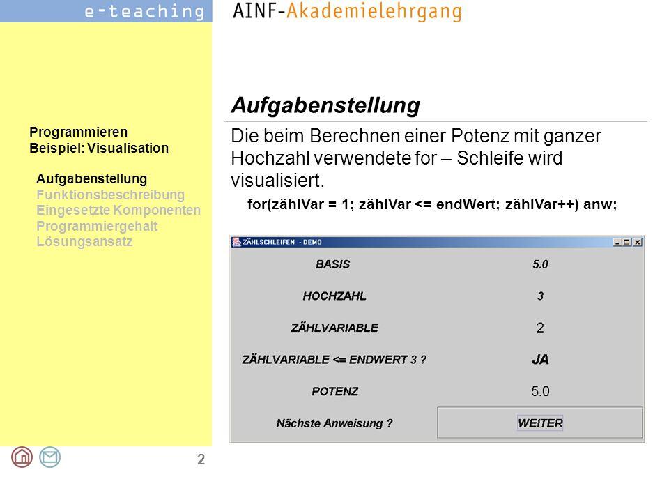 2 Programmieren Beispiel: Visualisation Aufgabenstellung Funktionsbeschreibung Eingesetzte Komponenten Programmiergehalt Lösungsansatz Aufgabenstellung Die beim Berechnen einer Potenz mit ganzer Hochzahl verwendete for – Schleife wird visualisiert.