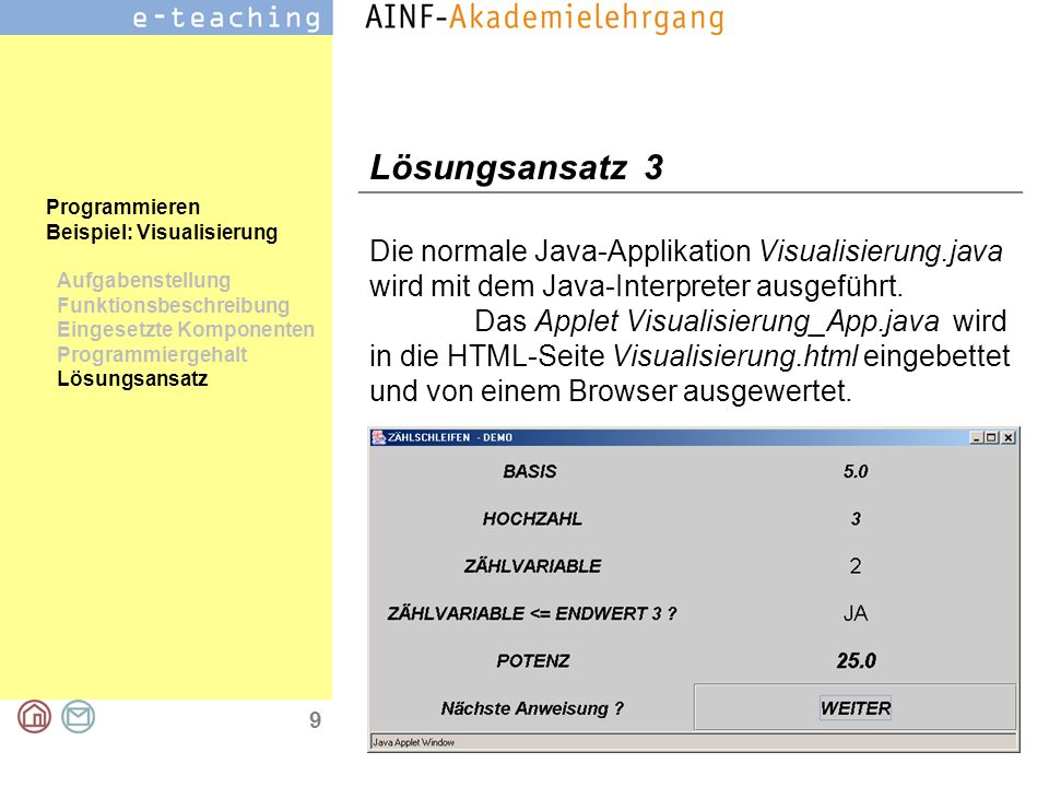 9 Programmieren Beispiel: Visualisierung Aufgabenstellung Funktionsbeschreibung Eingesetzte Komponenten Programmiergehalt Lösungsansatz Lösungsansatz 3 Die normale Java-Applikation Visualisierung.java wird mit dem Java-Interpreter ausgeführt.