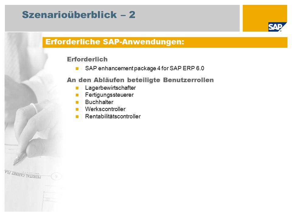 Szenarioüberblick – 2 Erforderlich SAP enhancement package 4 for SAP ERP 6.0 An den Abläufen beteiligte Benutzerrollen Lagerbewirtschafter Fertigungssteuerer Buchhalter Werkscontroller Rentabilitätscontroller Erforderliche SAP-Anwendungen: