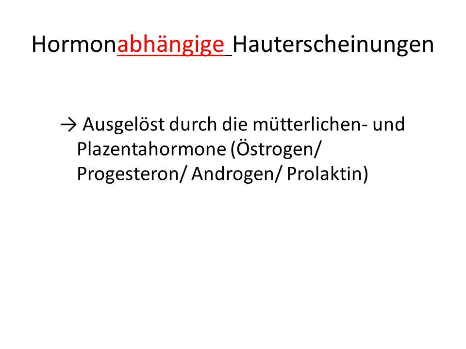 Hormonabhängige Hauterscheinungen → Ausgelöst durch die mütterlichen- und Plazentahormone (Östrogen/ Progesteron/ Androgen/ Prolaktin)