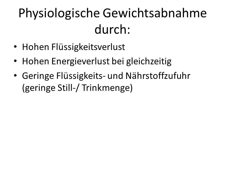 Physiologische Gewichtsabnahme durch: Hohen Flüssigkeitsverlust Hohen Energieverlust bei gleichzeitig Geringe Flüssigkeits- und Nährstoffzufuhr (gerin