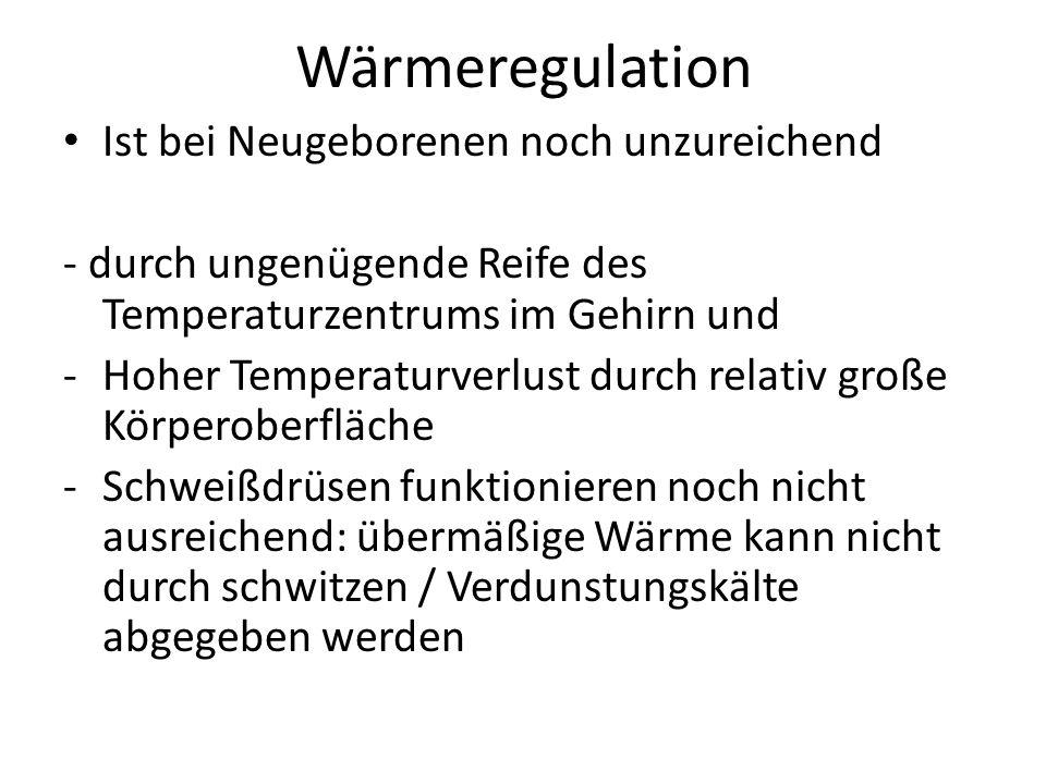 Wärmeregulation Ist bei Neugeborenen noch unzureichend - durch ungenügende Reife des Temperaturzentrums im Gehirn und -Hoher Temperaturverlust durch r