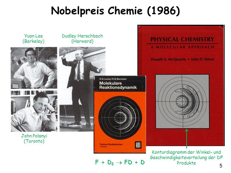5 Nobelpreis Chemie (1986) F + D 2  FD + D Dudley Herschbach (Harward) Yuan Lee (Berkeley) John Polanyi (Toronto) Konturdiagramm der Winkel- und Geschwindigkeitsverteilung der DF Produkte