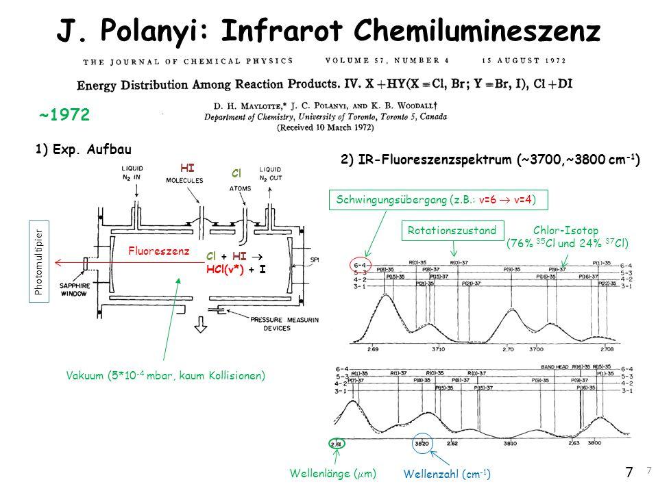 7 J. Polanyi: Infrarot Chemilumineszenz 7 1) Exp. Aufbau 2) IR-Fluoreszenzspektrum (~3700,~3800 cm -1 ) Cl + HI  HCl(v*) + I Fluoreszenz Photomultipi