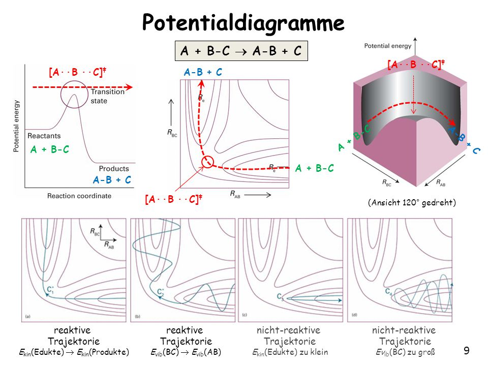9 Potentialdiagramme A + B-C  A-B + C A + B-C A-B + C A + B-C [A∙∙B ∙∙C] ‡ A-B + C [A∙∙B ∙∙C] ‡ reaktive Trajektorie E kin (Edukte)  E kin (Produkte) reaktive Trajektorie E vib (BC)  E vib (AB) nicht-reaktive Trajektorie E kin (Edukte) zu klein nicht-reaktive Trajektorie Ev ib (BC) zu groß (Ansicht 120° gedreht) A + B-C A-B + C [A∙∙B ∙∙C] ‡