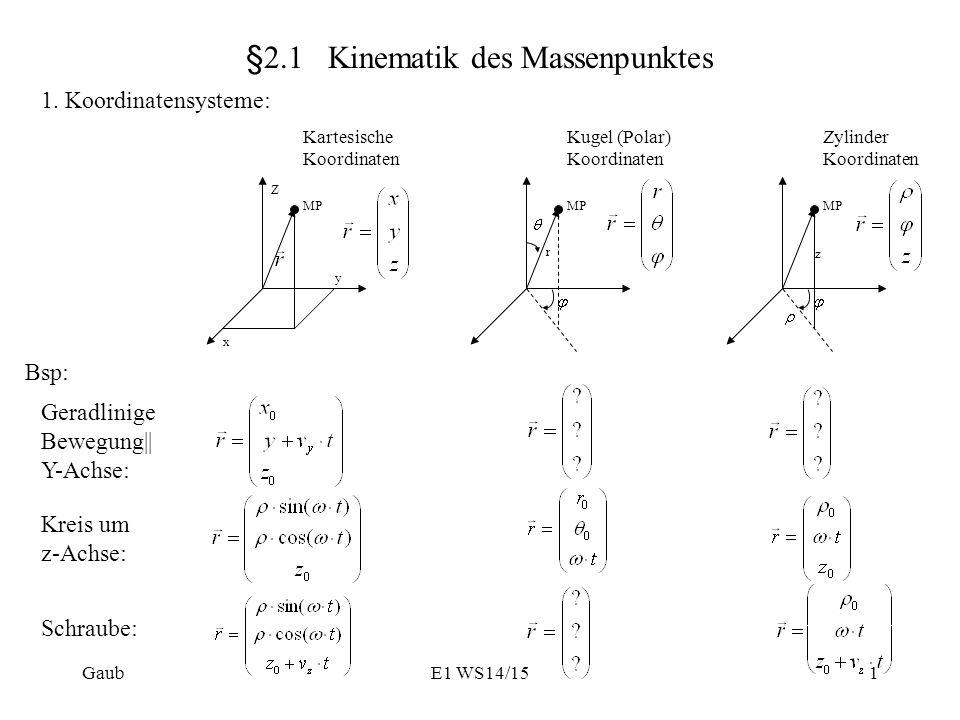 §2.1 Kinematik des Massenpunktes 1.
