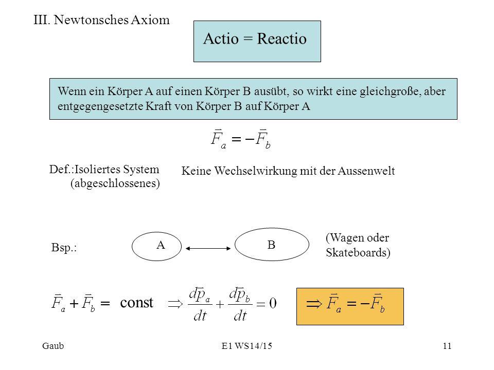III. Newtonsches Axiom Actio = Reactio Wenn ein Körper A auf einen Körper B ausübt, so wirkt eine gleichgroße, aber entgegengesetzte Kraft von Körper