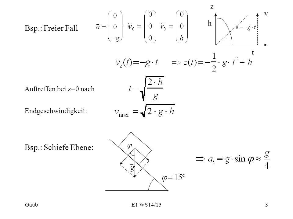 Bsp.: Freier Fall ;; Auftreffen bei z=0 nach Endgeschwindigkeit: z h t -v Bsp.: Schiefe Ebene: Gaub3E1 WS14/15