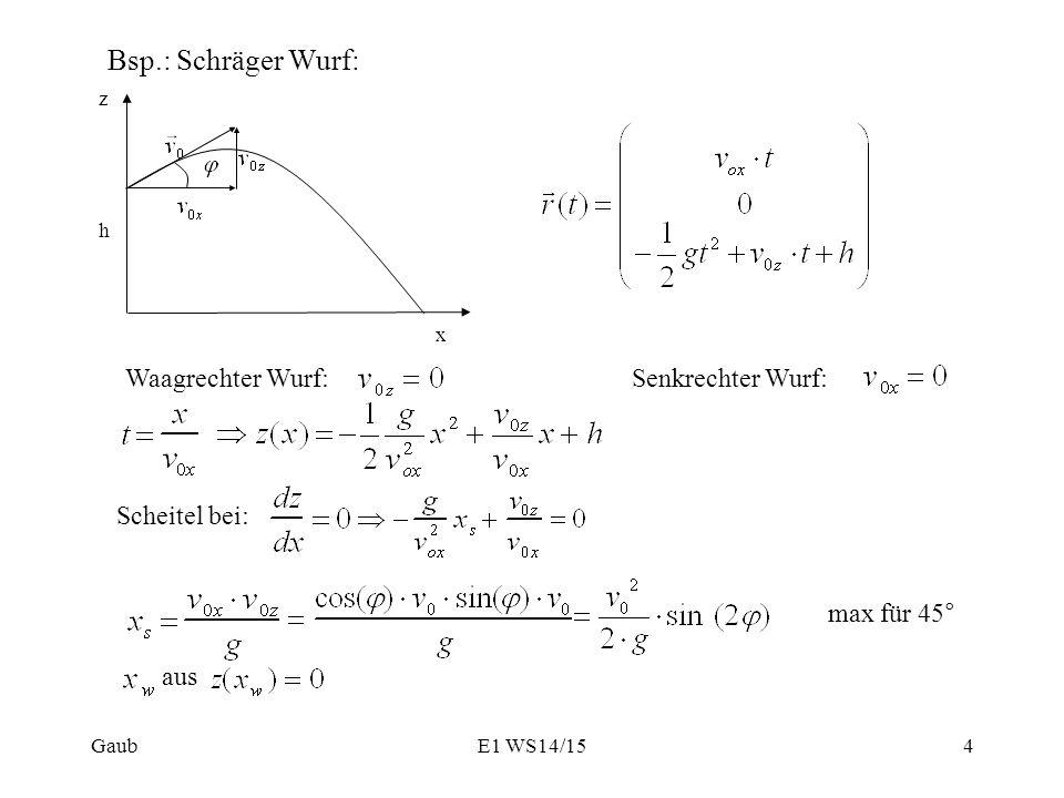 Bsp.: Schräger Wurf: x z h Waagrechter Wurf:Senkrechter Wurf: Scheitel bei: max für 45° aus Gaub4E1 WS14/15