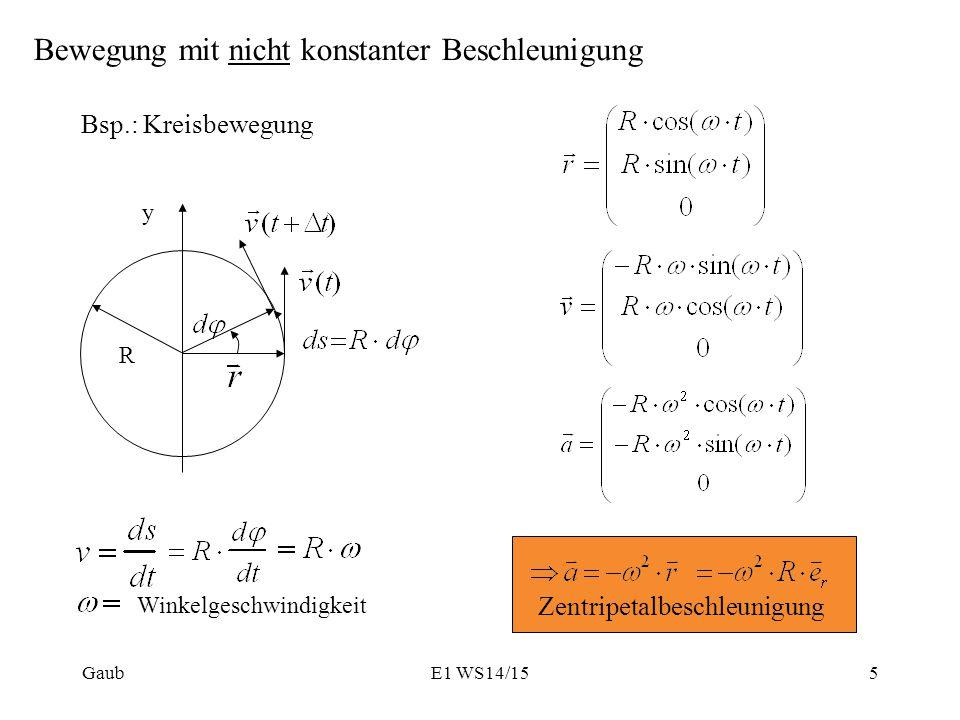 Bewegung mit nicht konstanter Beschleunigung Bsp.: Kreisbewegung Winkelgeschwindigkeit R y Gaub5E1 WS14/15 Zentripetalbeschleunigung