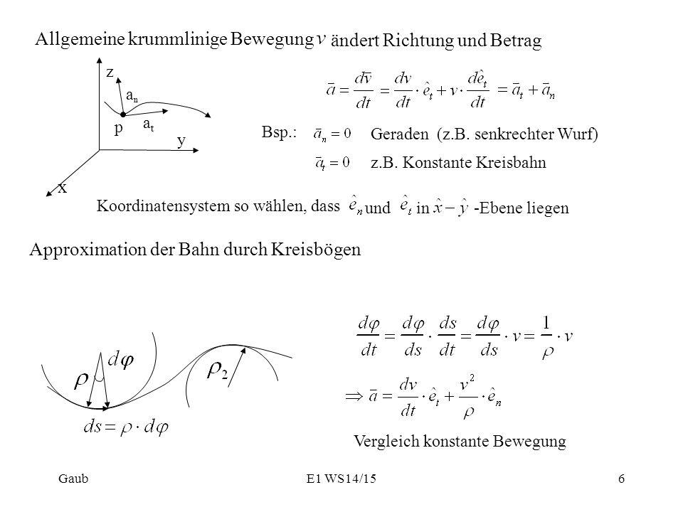 Allgemeine krummlinige Bewegung ändert Richtung und Betrag z x y p anan atat Bsp.: Geraden (z.B. senkrechter Wurf) z.B. Konstante Kreisbahn Koordinate