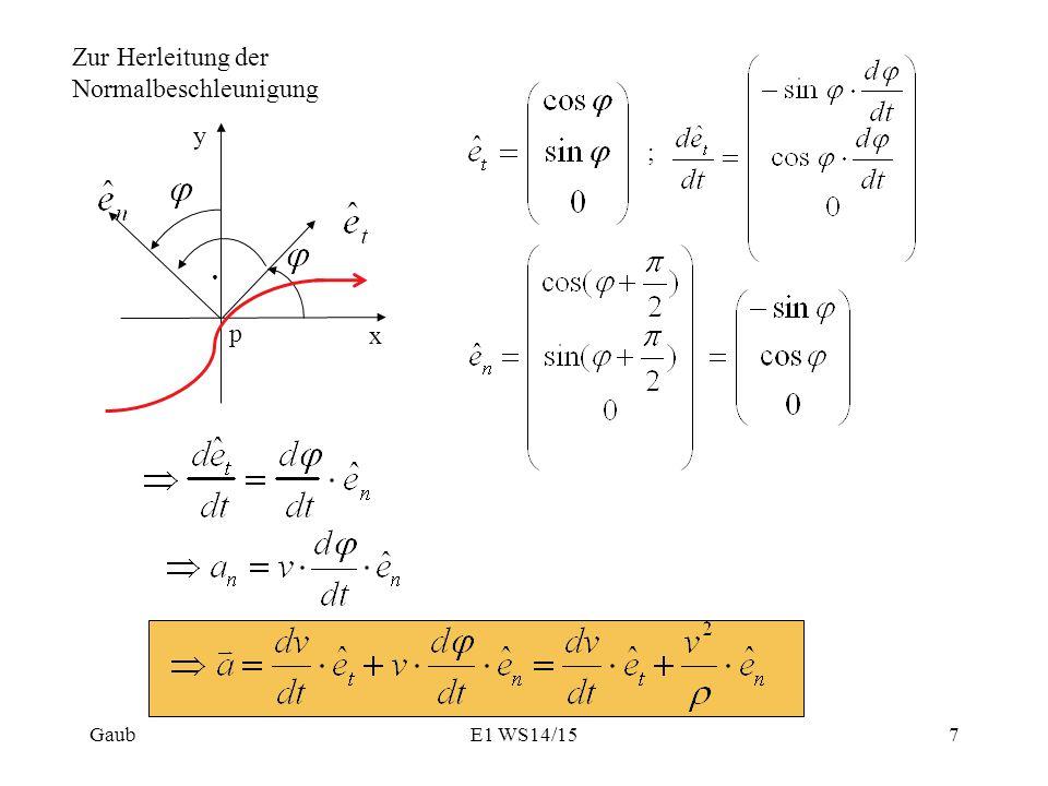 ; x y p Gaub7E1 WS14/15 Zur Herleitung der Normalbeschleunigung