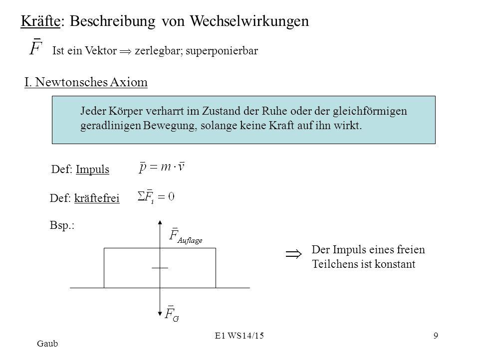 Kräfte: Beschreibung von Wechselwirkungen Ist ein Vektor  zerlegbar; superponierbar I.