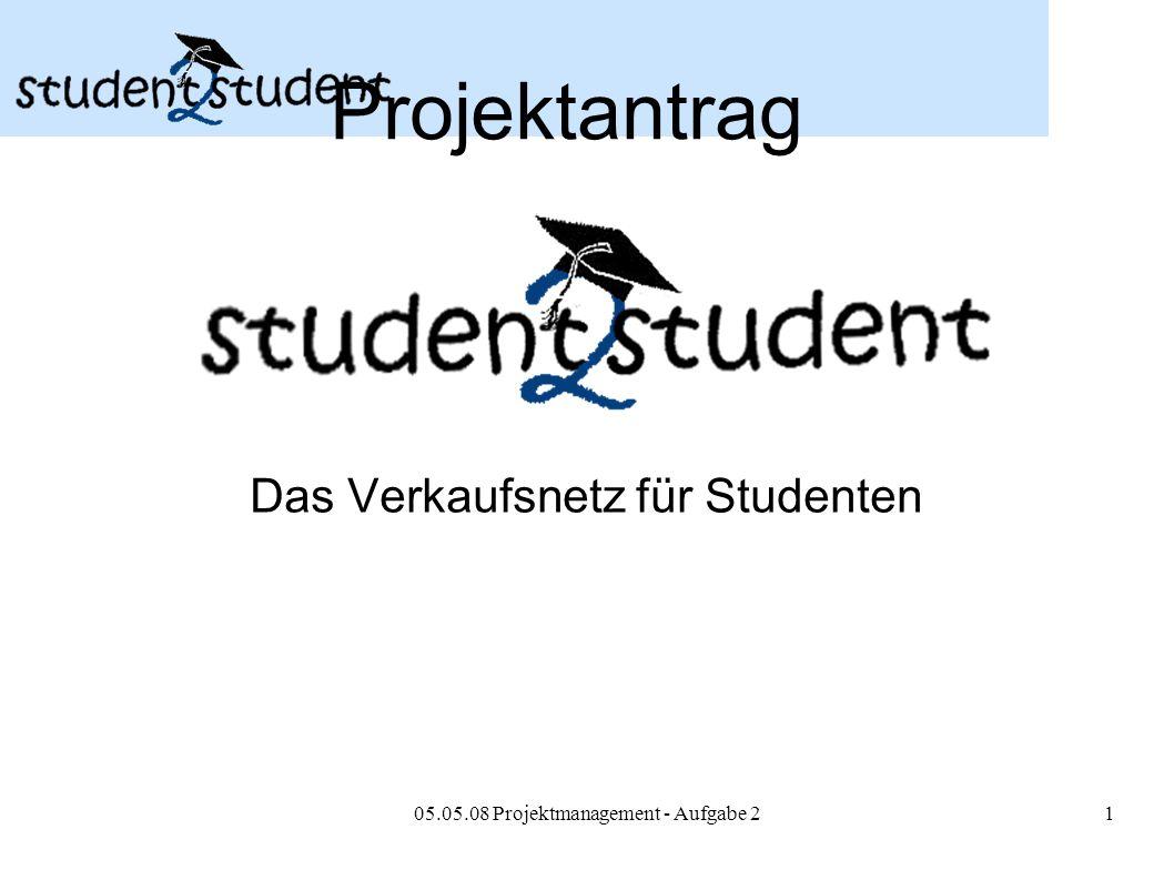 05.05.08 Projektmanagement - Aufgabe 21 Projektantrag Das Verkaufsnetz für Studenten