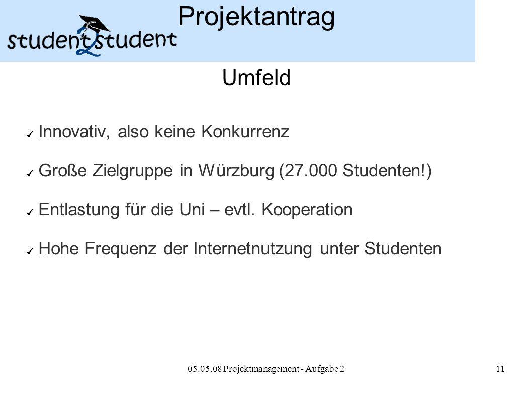 05.05.08 Projektmanagement - Aufgabe 211 Projektantrag Umfeld ✔ Innovativ, also keine Konkurrenz ✔ Große Zielgruppe in Würzburg (27.000 Studenten!) ✔