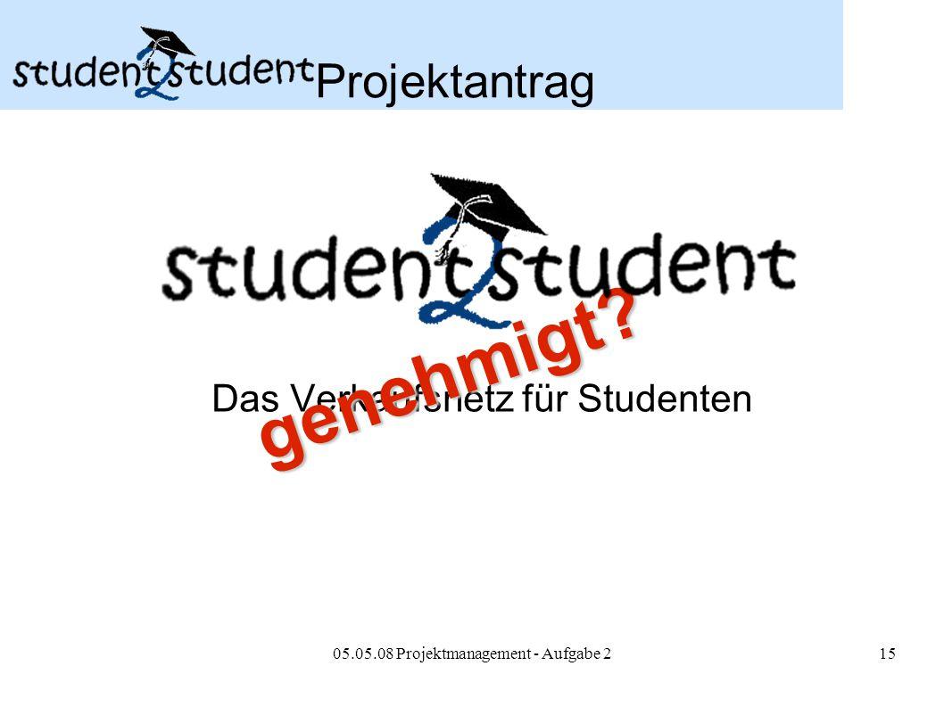 05.05.08 Projektmanagement - Aufgabe 215 Projektantrag Das Verkaufsnetz für Studenten genehmigt?