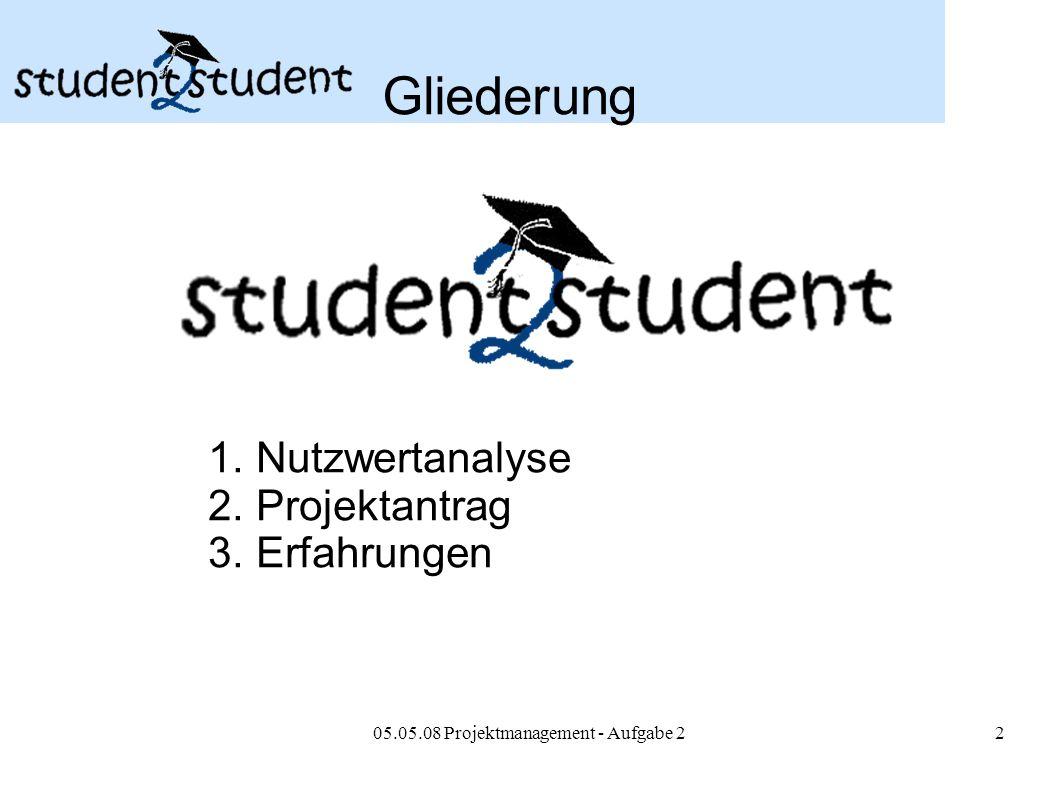 05.05.08 Projektmanagement - Aufgabe 22 Gliederung 1. Nutzwertanalyse 2. Projektantrag 3. Erfahrungen