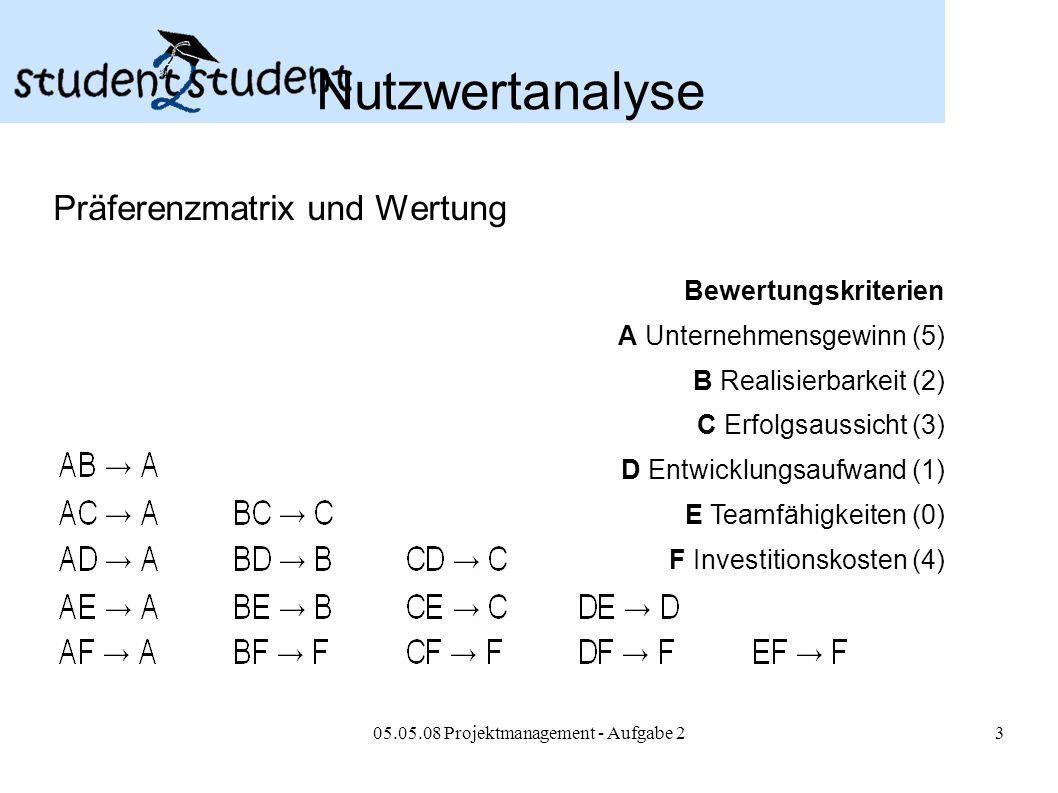 05.05.08 Projektmanagement - Aufgabe 23 Nutzwertanalyse Präferenzmatrix und Wertung Bewertungskriterien A Unternehmensgewinn (5) B Realisierbarkeit (2