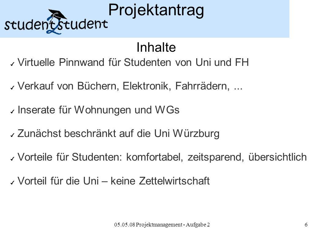 05.05.08 Projektmanagement - Aufgabe 26 Projektantrag Inhalte ✔ Virtuelle Pinnwand für Studenten von Uni und FH ✔ Verkauf von Büchern, Elektronik, Fah